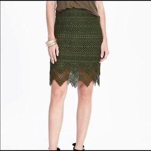 Banana Republic Olive Green Lace Pencil Skirt